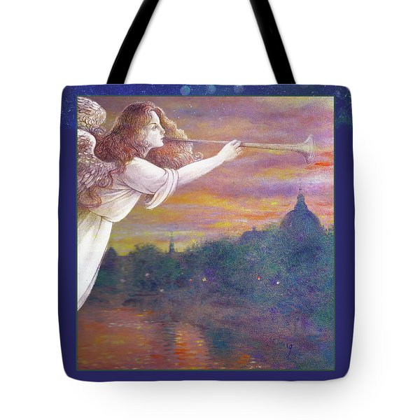 Romantic Paris Nocturne With Angel Tote Bag