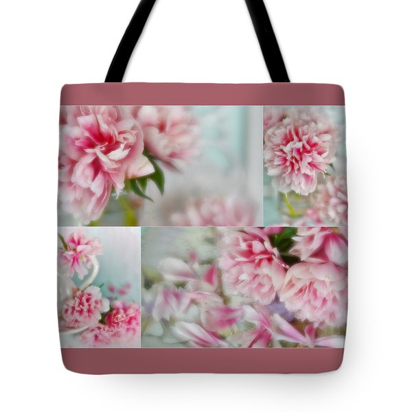 Tote Bag featuring the photograph Romantic Peonies Collage by Diane Alexander