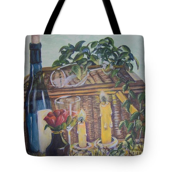 Tote Bag featuring the painting Romantic Picnic by Saundra Johnson