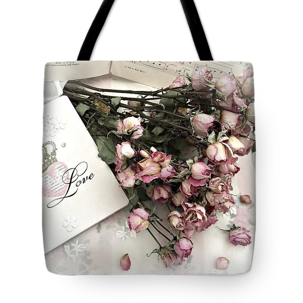 Tote Bag featuring the photograph Romantic Pink Roses With Love Book - Shabby Chic Romantic Roses Love Books Decor Still Life  by Kathy Fornal