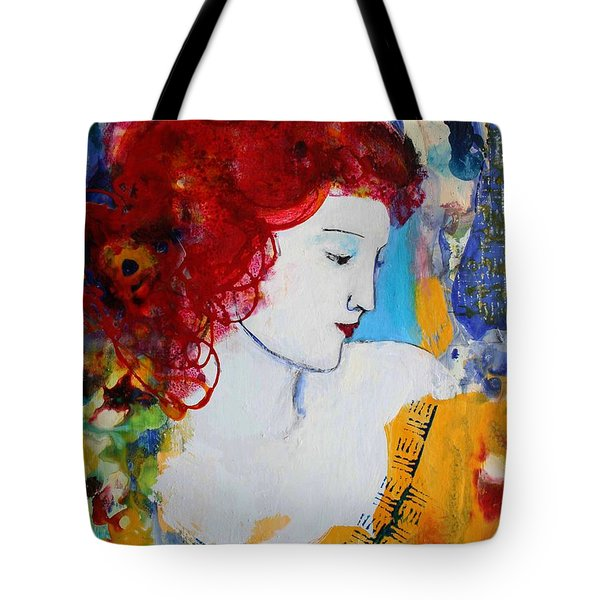 Romantic Read Heaired Woman Tote Bag