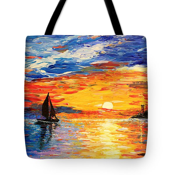 Tote Bag featuring the painting Romantic Sea Sunset by Georgeta  Blanaru