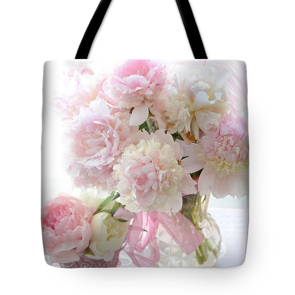 Romantic Shabby Chic Pink White Peonies - Shabby Chic Peonies Pastel Decor Tote Bag
