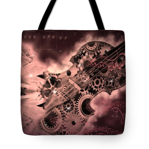 Romantic Stemapunk Violin Music Tote Bag