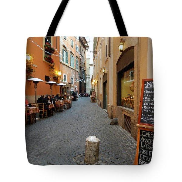 Romantic Streetside Cafe Tote Bag