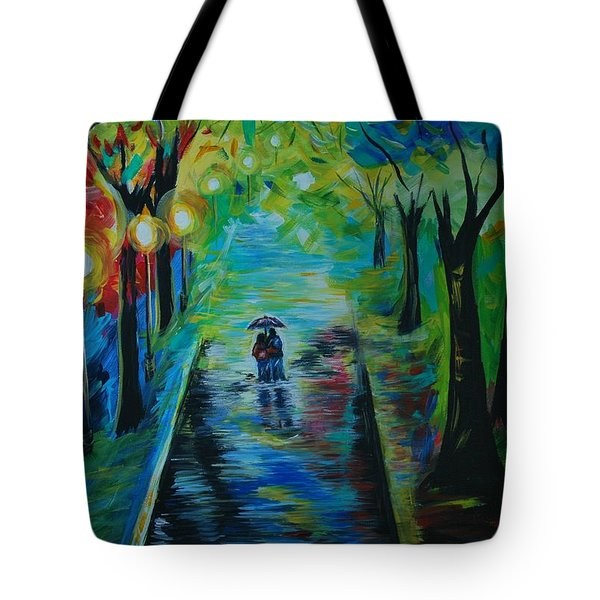 Tote Bag featuring the painting Romantic Stroll by Leslie Allen