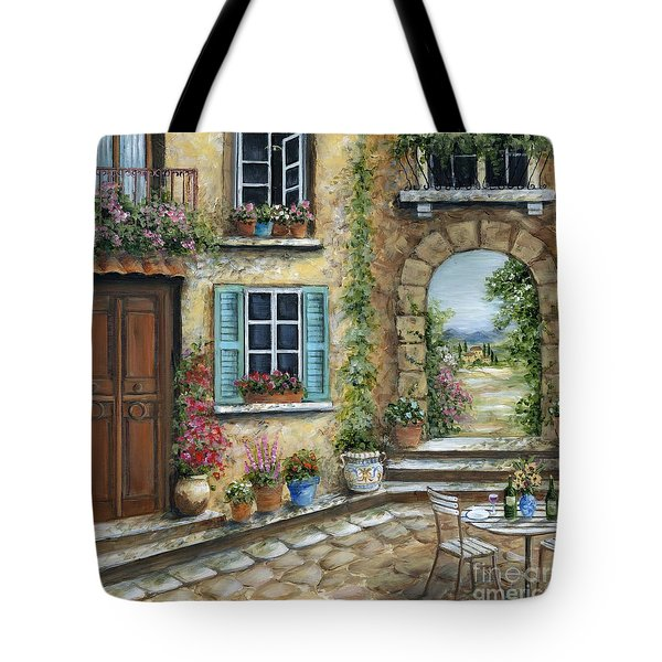 Romantic Tuscan Courtyard II Tote Bag