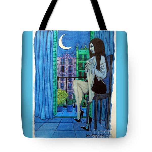 Tote Bag featuring the painting Romantic Woman At Balcony by Don Pedro De Gracia