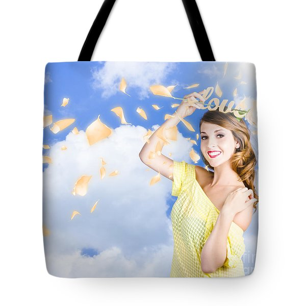 Romantic Woman Dreaming Of A Sky Filled Romance Tote Bag