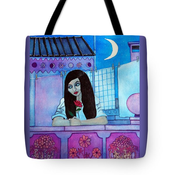 Romantic Woman In The Terrace At Night Tote Bag