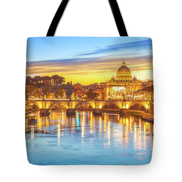 Tote Bag featuring the photograph Rome At Twilight by Benny Marty