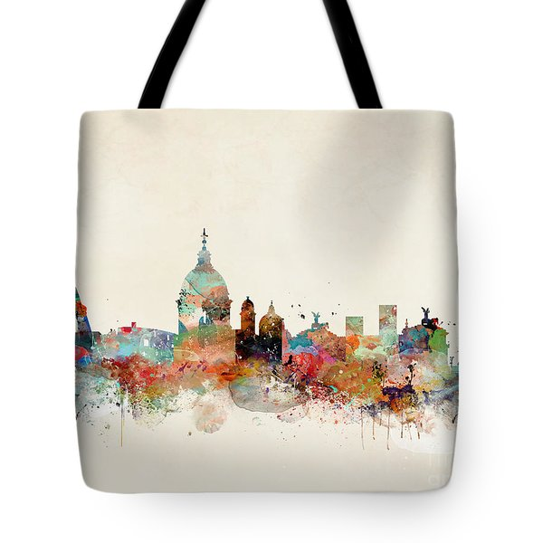 Tote Bag featuring the painting Rome Italy Skyline by Bri B