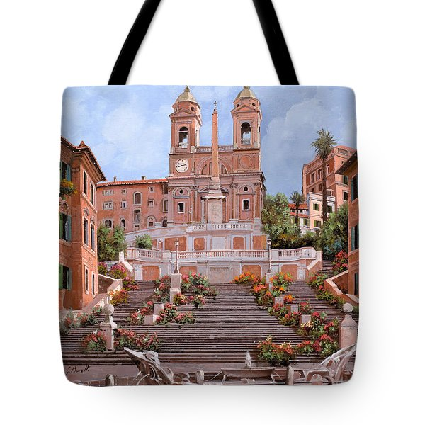 Tote Bag featuring the painting Rome-piazza Di Spagna by Guido Borelli