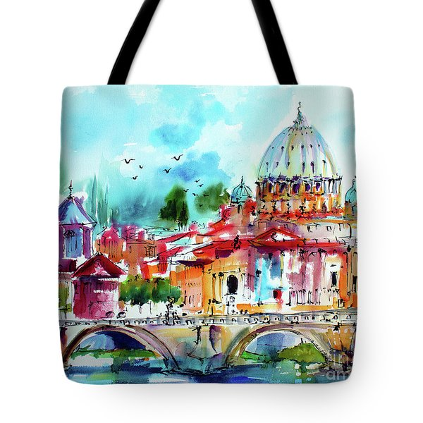 Tote Bag featuring the painting Rome Saint Peter Basilica St Angelo Bridge by Ginette Callaway