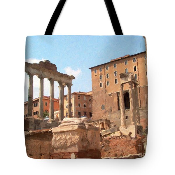 Rome The Eternal City And Temples Tote Bag