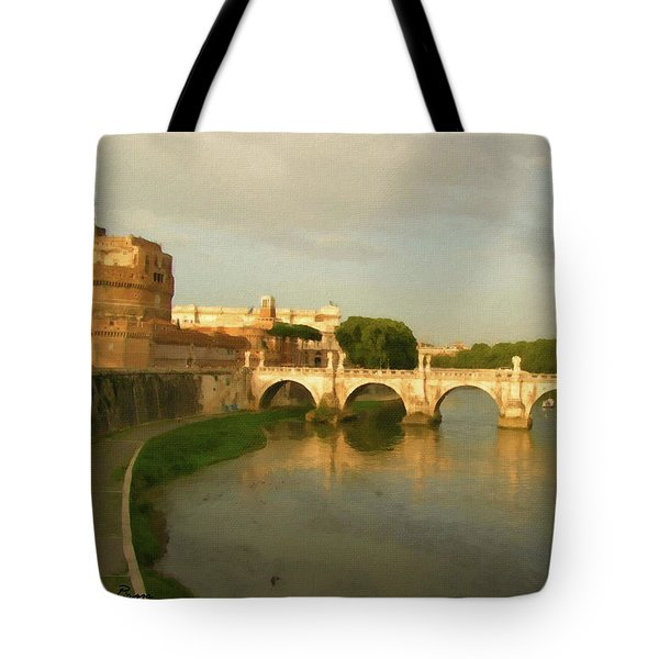 Rome The Eternal City And Tiber River Tote Bag