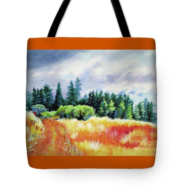 Tote Bag featuring the painting Romp On The Hill by Kathy Braud