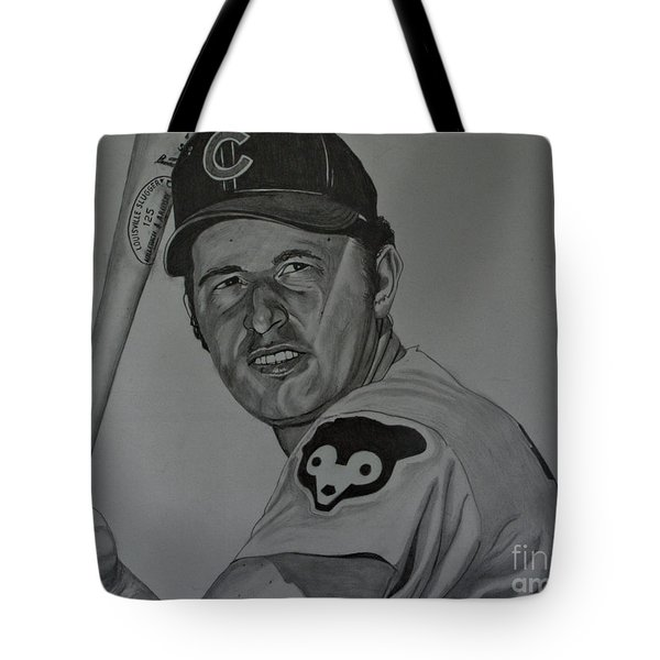 Tote Bag featuring the drawing Ron Santo Portrait by Melissa Goodrich