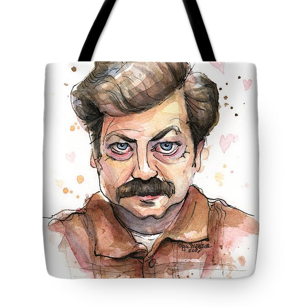 Ron Swanson Funny Love Portrait Tote Bag
