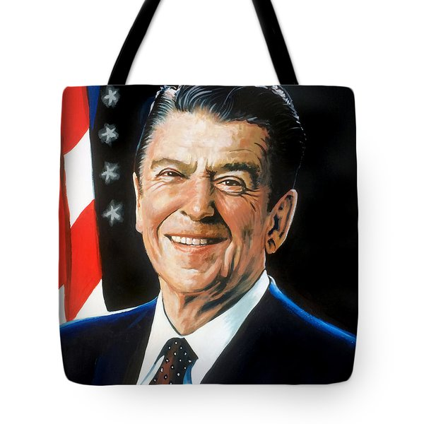 Ronald Reagan Portrait Tote Bag by Robert Korhonen