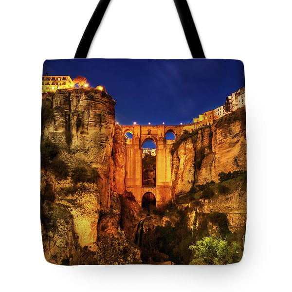 Tote Bag featuring the photograph Ronda By Night by Benny Marty
