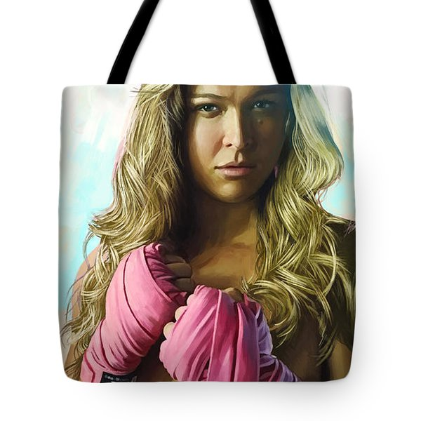 Tote Bag featuring the painting Ronda Rousey Artwork  by Sheraz A