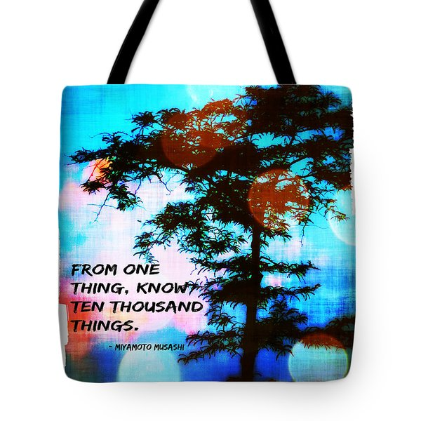 Ronin With Musashi Quote II Tote Bag by Aurelio Zucco