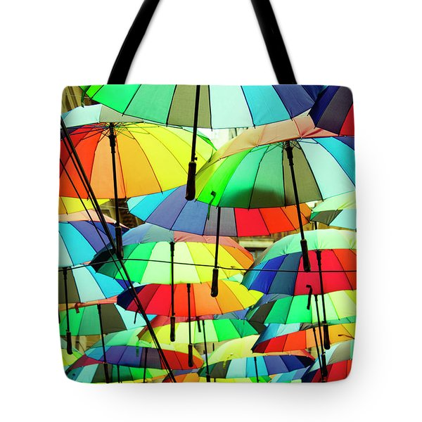 Roof Made From Colorful Umbrellas Tote Bag