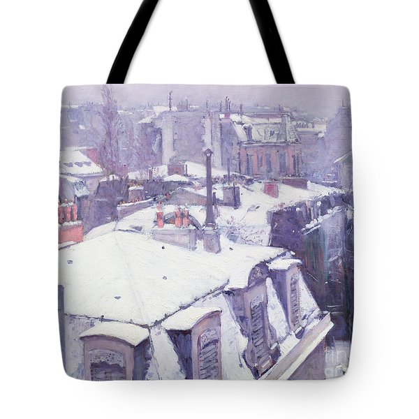 Roofs Under Snow Tote Bag