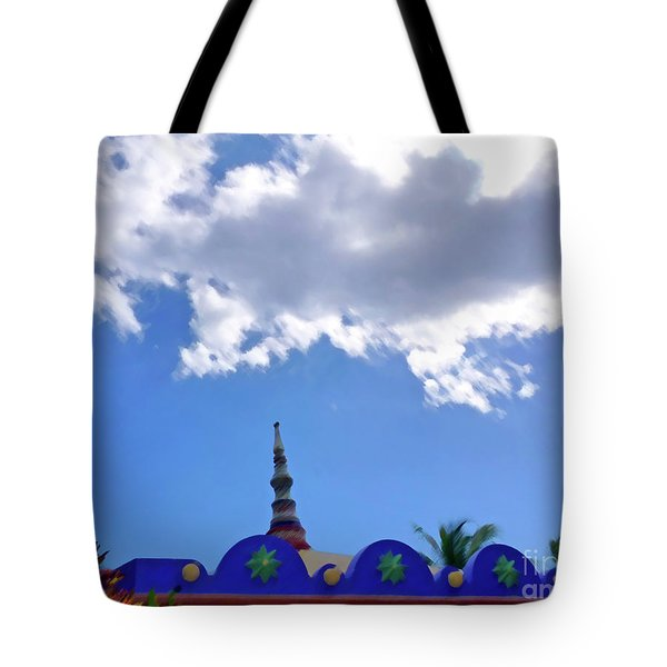 Tote Bag featuring the digital art Rooftop And Sky by Francesca Mackenney