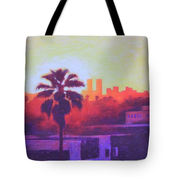 Tote Bag featuring the painting Rooftop Glow by Andrew Danielsen