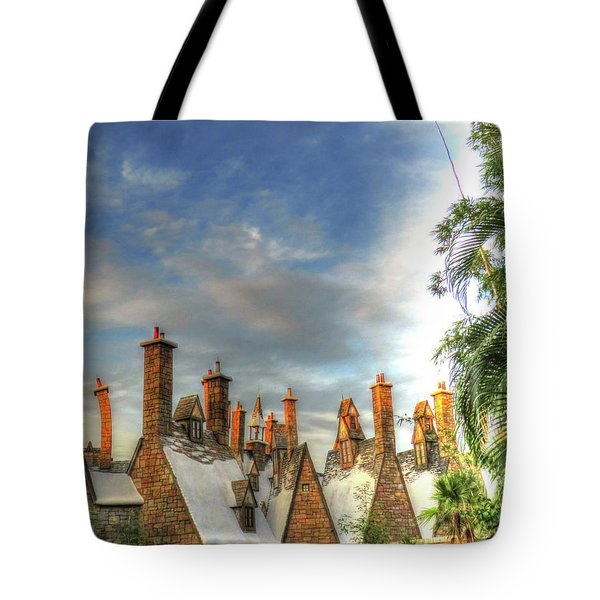 Tote Bag featuring the photograph rooftops Hogsmeade by Tom Prendergast
