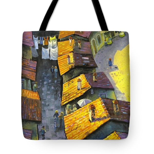 Tote Bag featuring the painting Rooftops by Mikhail Zarovny