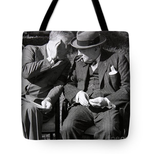 Roosevelt And Churchill Deep In Conversation At The Casablanca Conference, Morocco, January 1943 Tote Bag