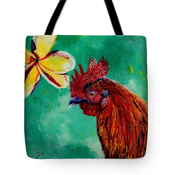 Tote Bag featuring the painting Rooster And Plumeria by Marionette Taboniar
