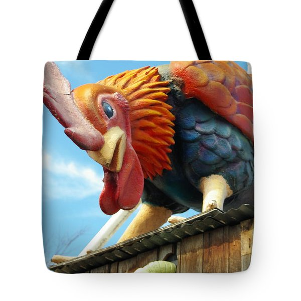 Tote Bag featuring the photograph Rooster And Worm by Gregg Cestaro