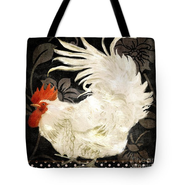 Rooster Damask Dark Tote Bag by Mindy Sommers