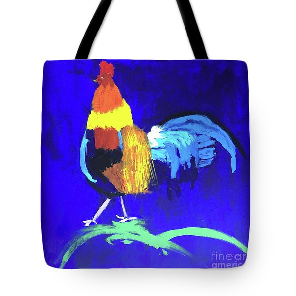 Tote Bag featuring the painting Rooster by Donald J Ryker III
