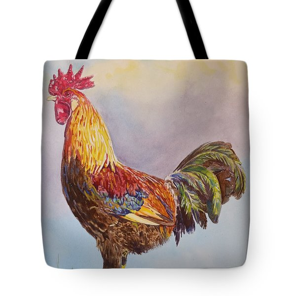 Tote Bag featuring the painting Rooster I by Robert Decker