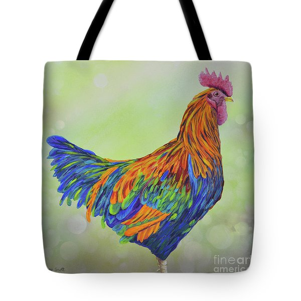 Tote Bag featuring the painting Rooster by Mary Scott