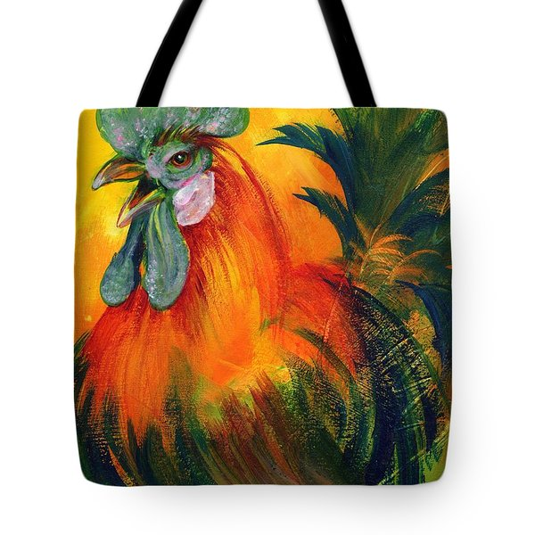 Rooster Of Another Color Tote Bag by Summer Celeste