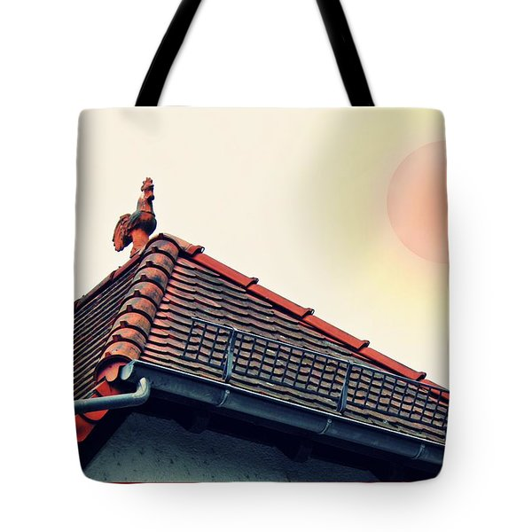 Rooster On The Roof Tote Bag