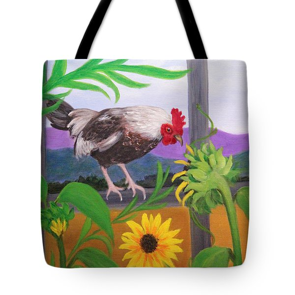 Rooster Sampling Sunflowers Tote Bag