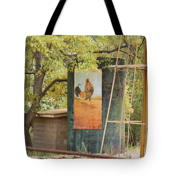 Rooster Water Tank Tote Bag by Donna Greene