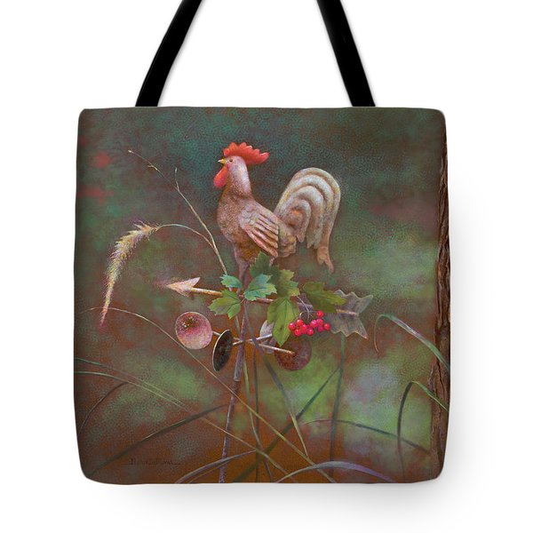 Tote Bag featuring the painting Rooster Weather Vane In Garden by Nancy Lee Moran
