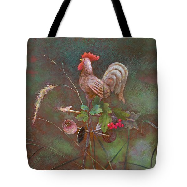 Tote Bag featuring the painting Rooster Weather Vane In Square Format by Nancy Lee Moran