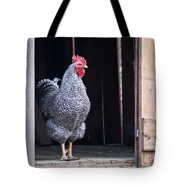 Rooster With Attitude Tote Bag by Douglas Barnett