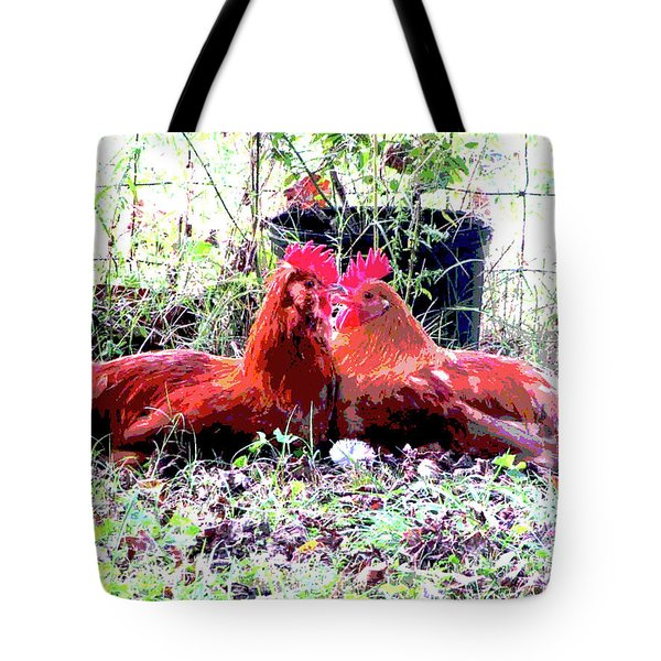 Tote Bag featuring the mixed media Roosters by Charles Shoup