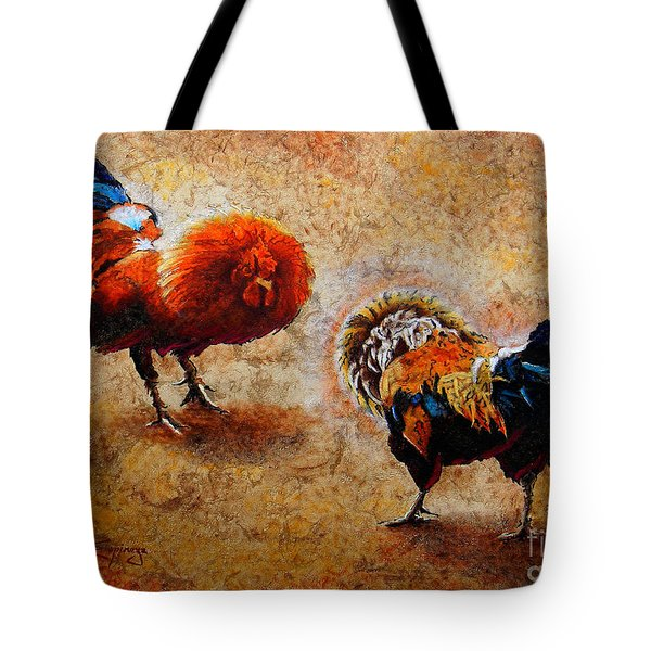 Roosters  Scene Tote Bag by J- J- Espinoza