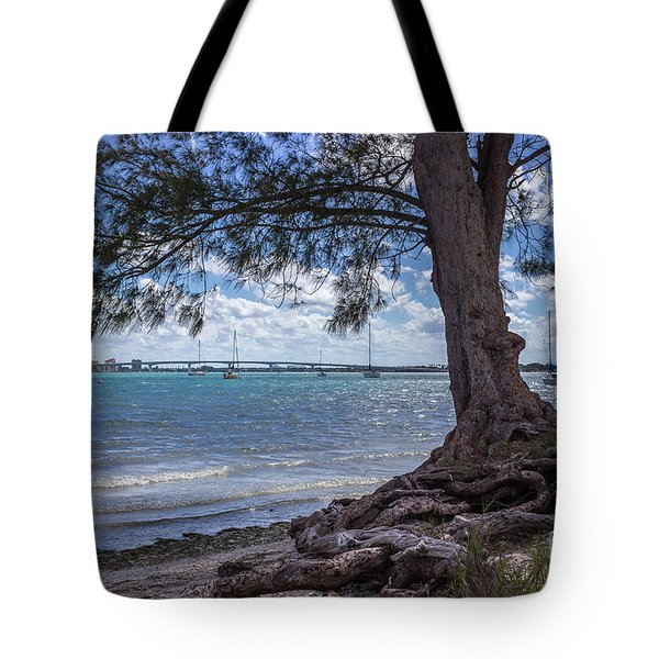 Roots And Ringling Bridge On Sarasota Bay Tote Bag